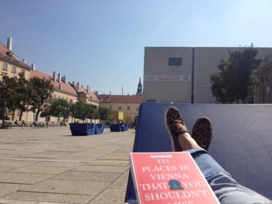 Reading a Book about Vienna. Museums Quartier. Enjoying the #indiansummer